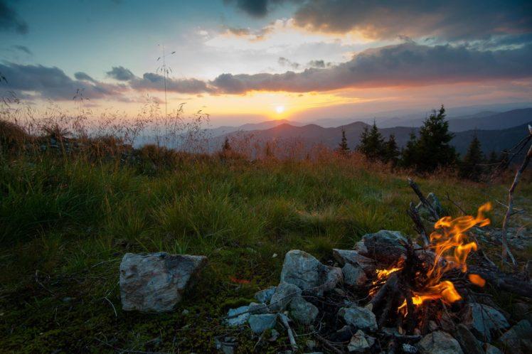 landscape, Fireplace, Sun, Sunset, Grass, Stones, Clouds, Fire, Trees, Nature HD Wallpaper Desktop Background
