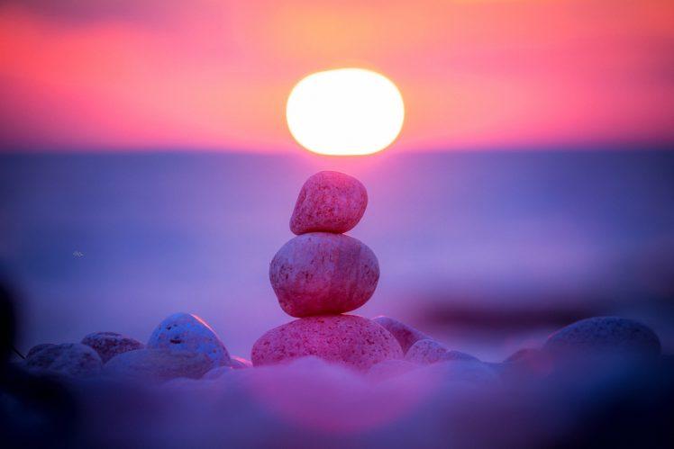 Sun, Rocks, Rock, Depth of field HD Wallpaper Desktop Background