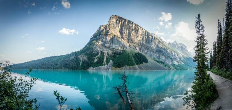 lake, Hills, Mountains, Water, Sky, Trees, Forest, Canada, Lake Louise HD Wallpaper Desktop Background