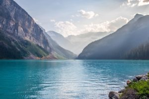 lake, Mountains, Water, Forest, Sky, Canada, Lake Louise
