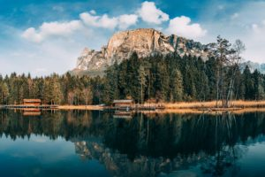 lake, House, Mountains, Trees