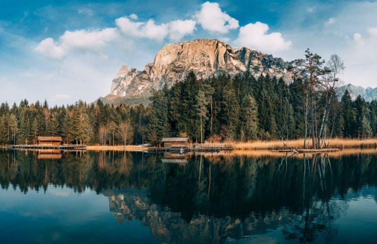 lake, House, Mountains, Trees HD Wallpaper Desktop Background