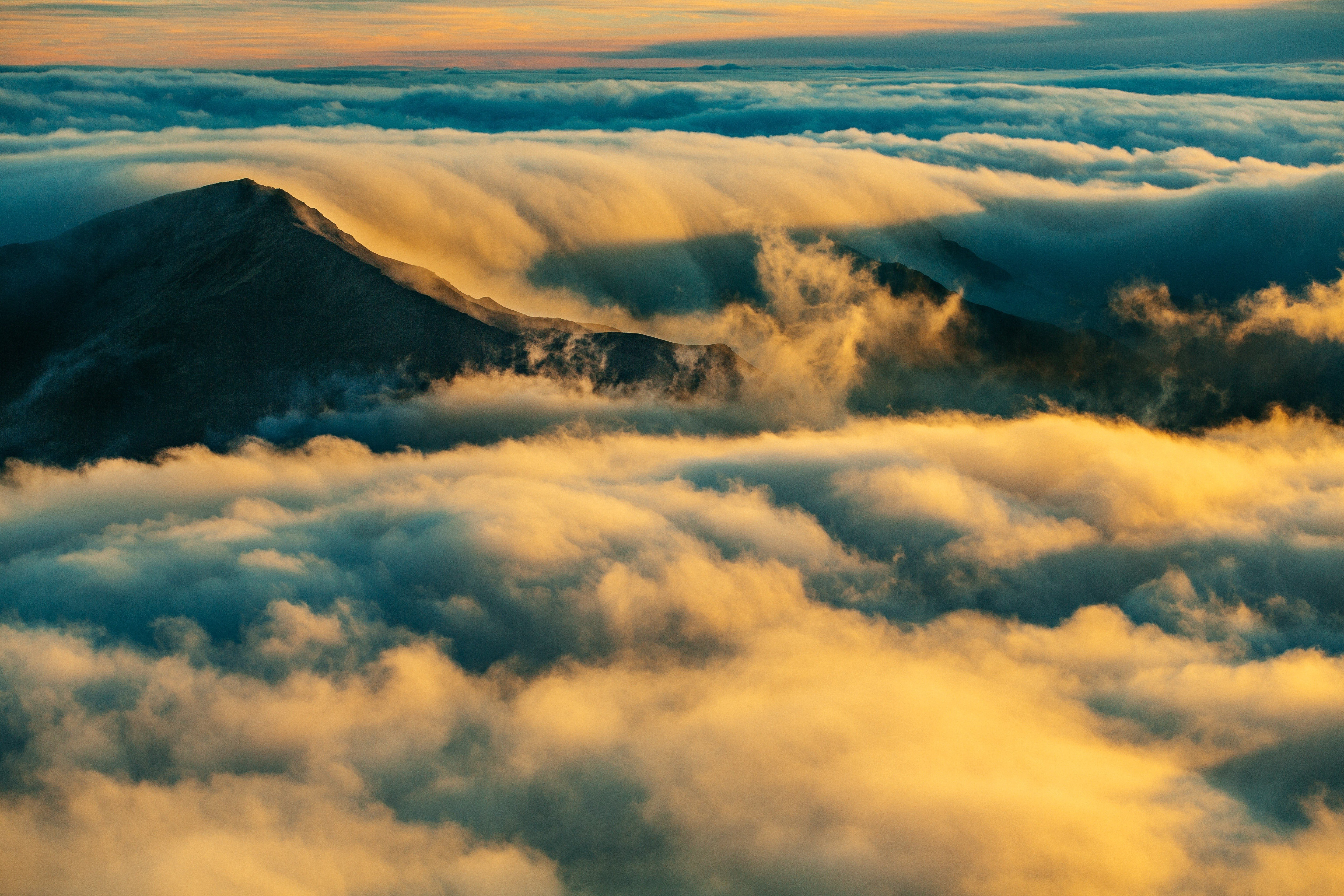 mountains, Top view, Clouds, Nature Wallpaper