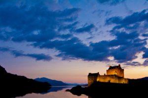castle, River, Sky