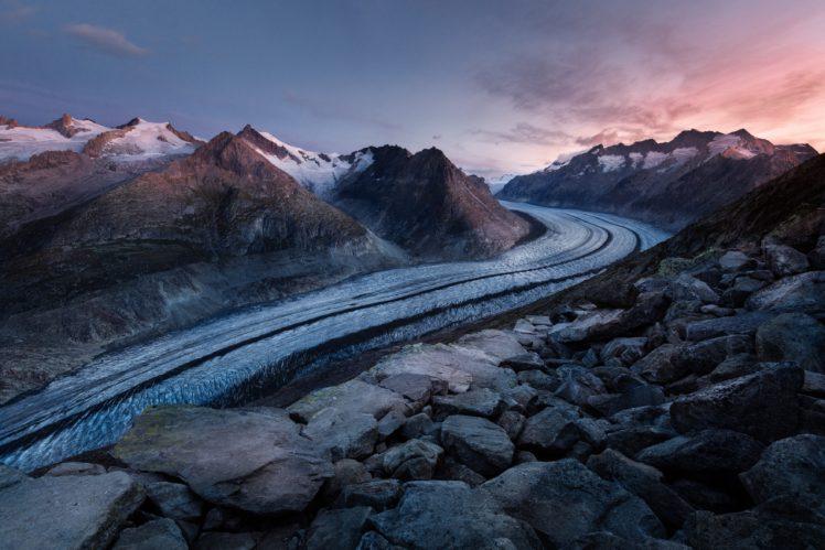sky, River, Mountains, Winter HD Wallpaper Desktop Background