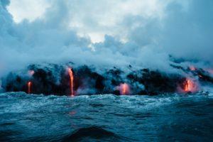 eruption, Volcano, Water, Lava