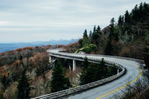 road, Trees, Landscape, North Carolina, Linn Cove Viaduct, USA