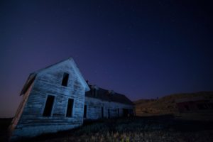 house, Sky, Field, Night, Abandoned, Building