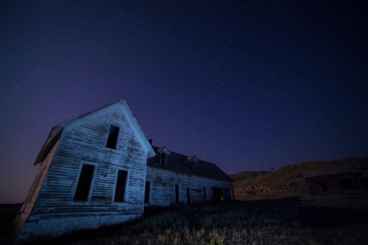 house, Sky, Field, Night, Abandoned, Building HD Wallpaper Desktop Background