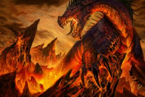dragon, Fantasy art, Lava