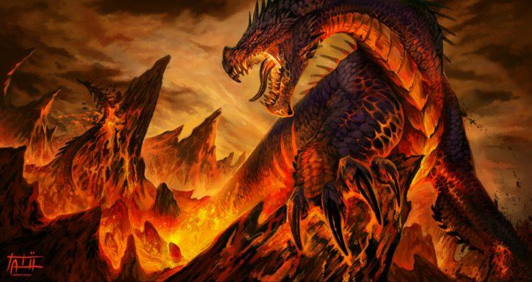 Dragon Fantasy Art Lava Hd Wallpapers Desktop And Mobile