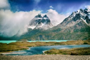 river, Mountains, Clouds, Nature, Landscape, Torres del paine national park