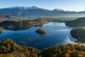 castle, River, Mountains, Slovenia, Lake Bled, Church