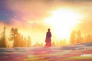 Elizabeth Gadd, Liquicity, Snow, Winter, Sun, Sunset, Yellow, Trees, Mountains, Sky, Clouds, Sunrise