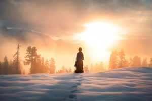 Elizabeth Gadd, Snow, Winter, Sun, Sunset, Yellow, Trees, Mountains, Sky, Clouds, Sunrise