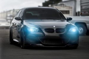 blue eyes, Angel Eyes, BMW M5, Black cars