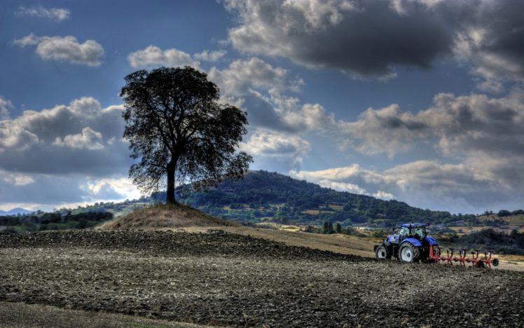 tractors, Field, Landscape HD Wallpaper Desktop Background