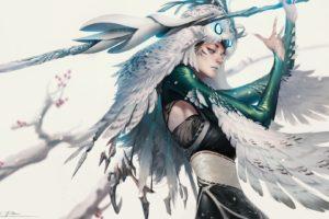 women, Owl, Feathers