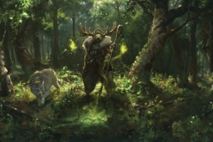 forest, Wolf, Magic, Sorcerer, Antlers