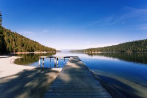 lake, Water, Forest, Clear sky, Nature