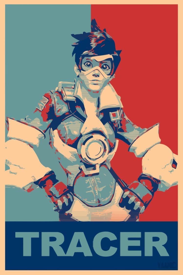 propaganda, Tracer (Overwatch), Overwatch, Gamer HD Wallpaper Desktop Background