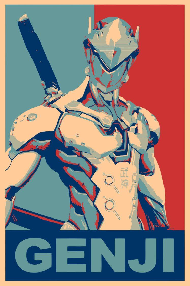 propaganda, Genji (Overwatch), Overwatch, Gamer HD Wallpaper Desktop Background