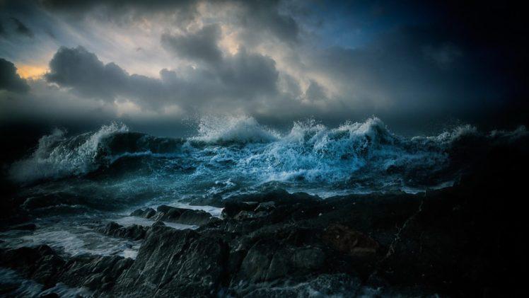 Nature Landscape Clouds Water Sea Rock Waves Storm Hd
