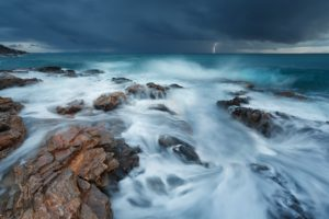 nature, Landscape, Clouds, Water, Sea, Storm, Lightning, Rock, Waves, Horizon, Long exposure