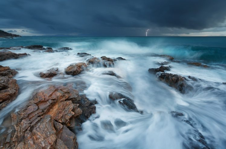nature, Landscape, Clouds, Water, Sea, Storm, Lightning, Rock, Waves, Horizon, Long exposure HD Wallpaper Desktop Background