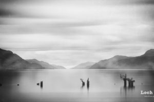 nature, Landscape, Clouds, Water, Loch Ness, Scotland, UK, Lake, Mist, Monochrome, Scottish Highlands, Calm, Long exposure, Mountains