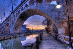 architecture, Building, Old building, Water, Philadelphia, USA, HDR, Bridge, Sunset, Evening, Street light, Reflection, Pier