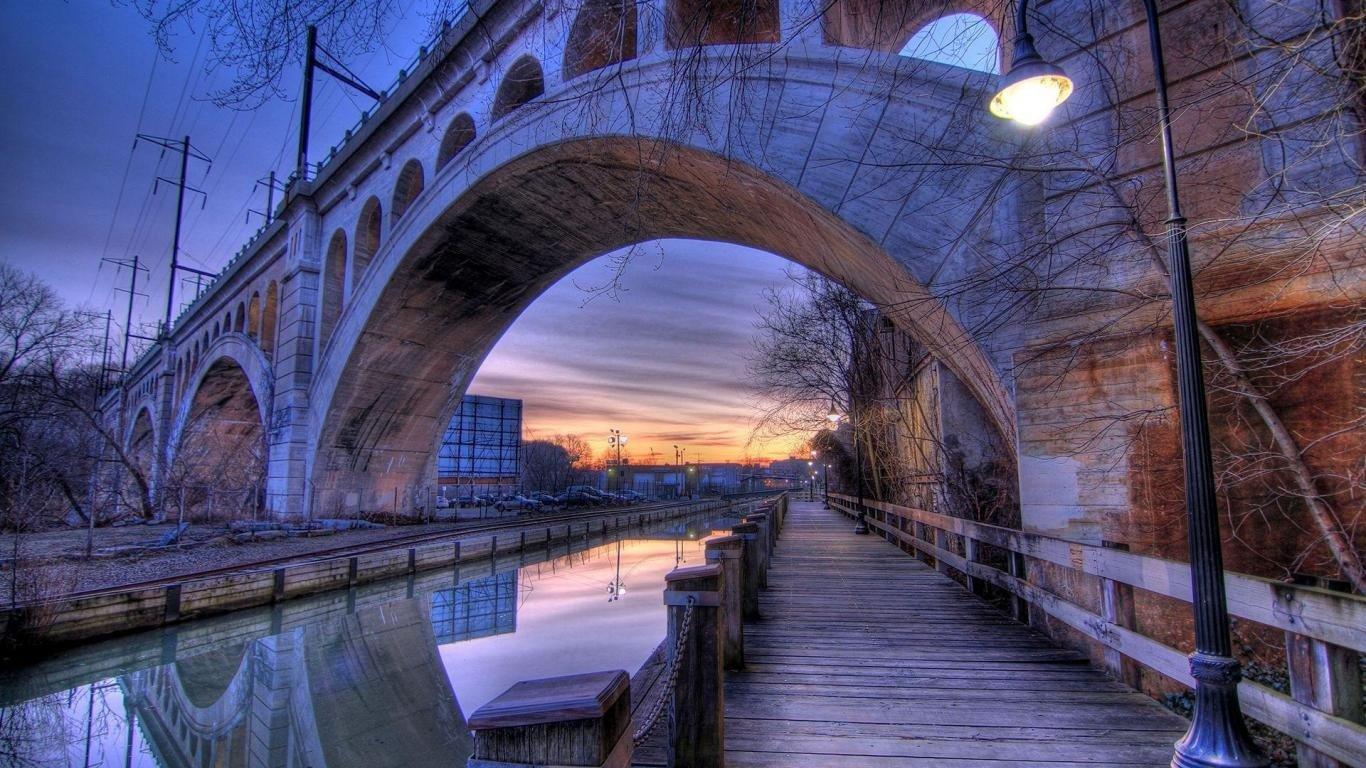 architecture, Building, Old building, Water, Philadelphia, USA, HDR, Bridge, Sunset, Evening, Street light, Reflection, Pier Wallpaper