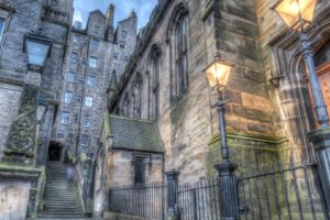 architecture, Building, Old building, Water, Edinburgh, Scotland, UK, Street, Stairs, Lamp, Evening, HDR, Ancient, Historic