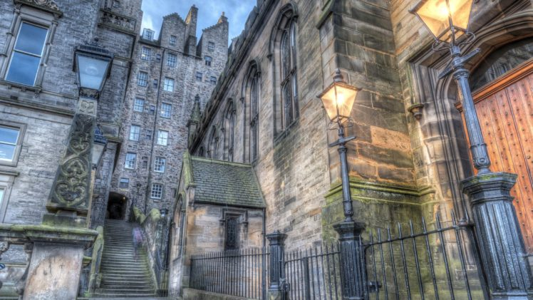 architecture, Building, Old building, Water, Edinburgh, Scotland, UK, Street, Stairs, Lamp, Evening, HDR, Ancient, Historic HD Wallpaper Desktop Background