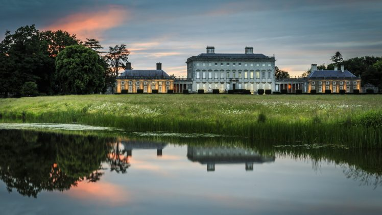 architecture, Building, Old building, Water, Ireland, Mansions, Lake, Reflection, Nature, Landscape, Sunset, Field, Trees HD Wallpaper Desktop Background