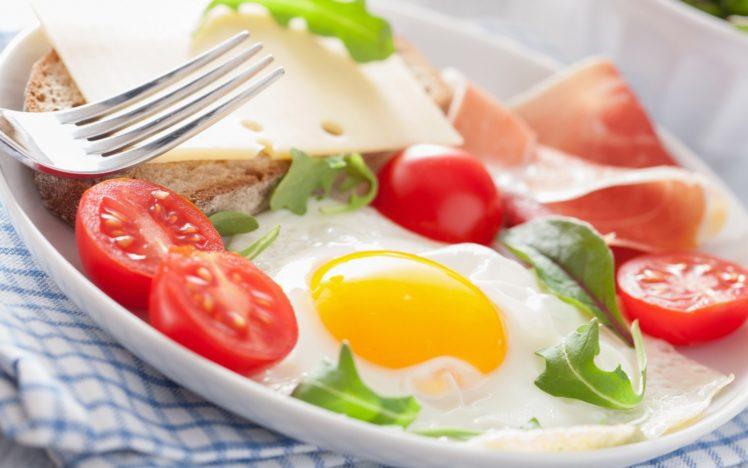 food, Fork, Tomatoes, Eggs HD Wallpaper Desktop Background