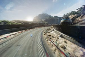 Fast Racing Neo, Shin&039;en Multimedia, Video games, Desert, Sand, Landscape, Sun rays, Road, Race tracks, Sunrise, Sunset, Ambient, Wall, Building, Rock, Trees, Mountains