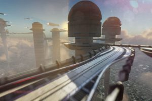 video games, Shin&039;en Multimedia, Fast Racing Neo, Race tracks, Road, Sky, Futuristic city, Futuristic, Ship, Tower, Cityscape, Floating, Flying, Clouds, Sunset, Ambient, Landscape, Building