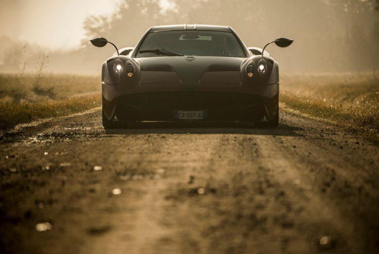 Pagani Huayra, Pagani, Huayra, Dirt road, Road, Afternoon, Ambient, Car, Vehicle, Race cars, Sports car, Supercars, Grass HD Wallpaper Desktop Background