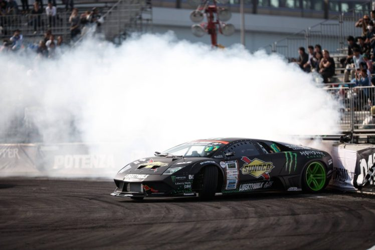 Audience, Lamborghini, Lamborghini Murcielago, Drift, Drifting, Monster  Energy, Smoke,