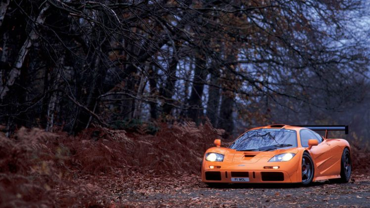 456931 McLaren McLaren F1 orange color trees fall supercars car sports car leaves plants   landscape