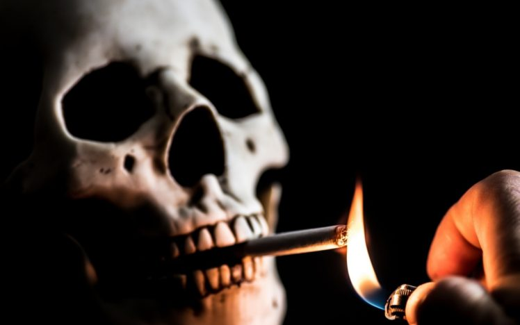 Cigarettes Death Smoking Lighter Skull HD Wallpaper Desktop Background