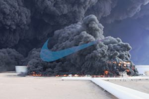 oil pump, Fire, Smoke, Nike, Logo, Syria, Sky