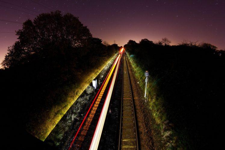 long exposure, Train, Photography, Light trails HD Wallpaper Desktop Background