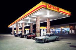 gas stations, BMW, Shell Oil Company, Stanceworks, BMW E30, BMW M3 E46, BMW E28, BMW 3.0 CSL