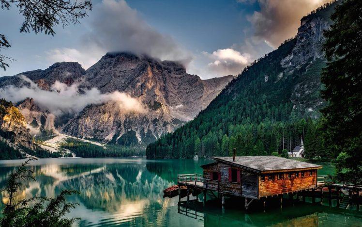Lake Pragser, Italy, Landscape, Lake HD Wallpaper Desktop Background