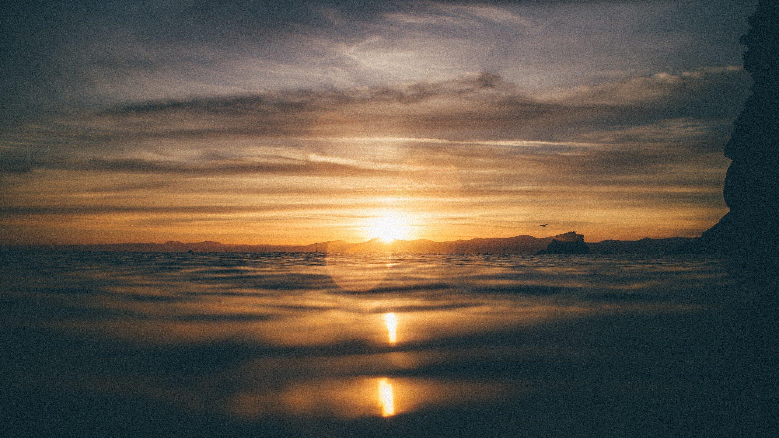 sunset, Water, Bokeh, Birds Wallpaper