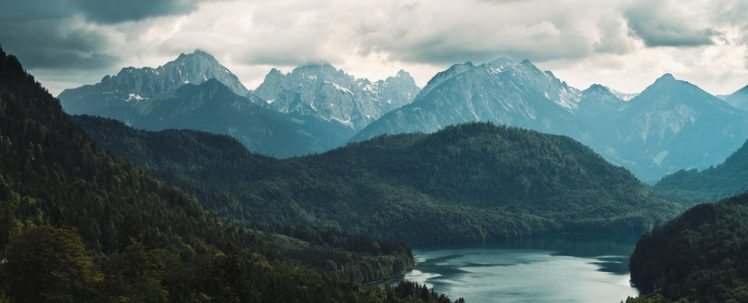 Neuschwanstein Castle, Germany, Mountains, Lake, Wood, Clouds, Bavaria HD Wallpaper Desktop Background