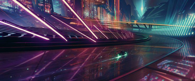 cyberpunk, Lights, Road, Turn, City, Night, Motorcycle, Futuristic HD Wallpaper Desktop Background