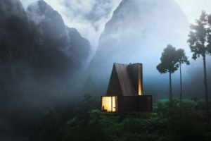 cabin, Forest, Wood, Night, Mountains, Lights, House, Mist